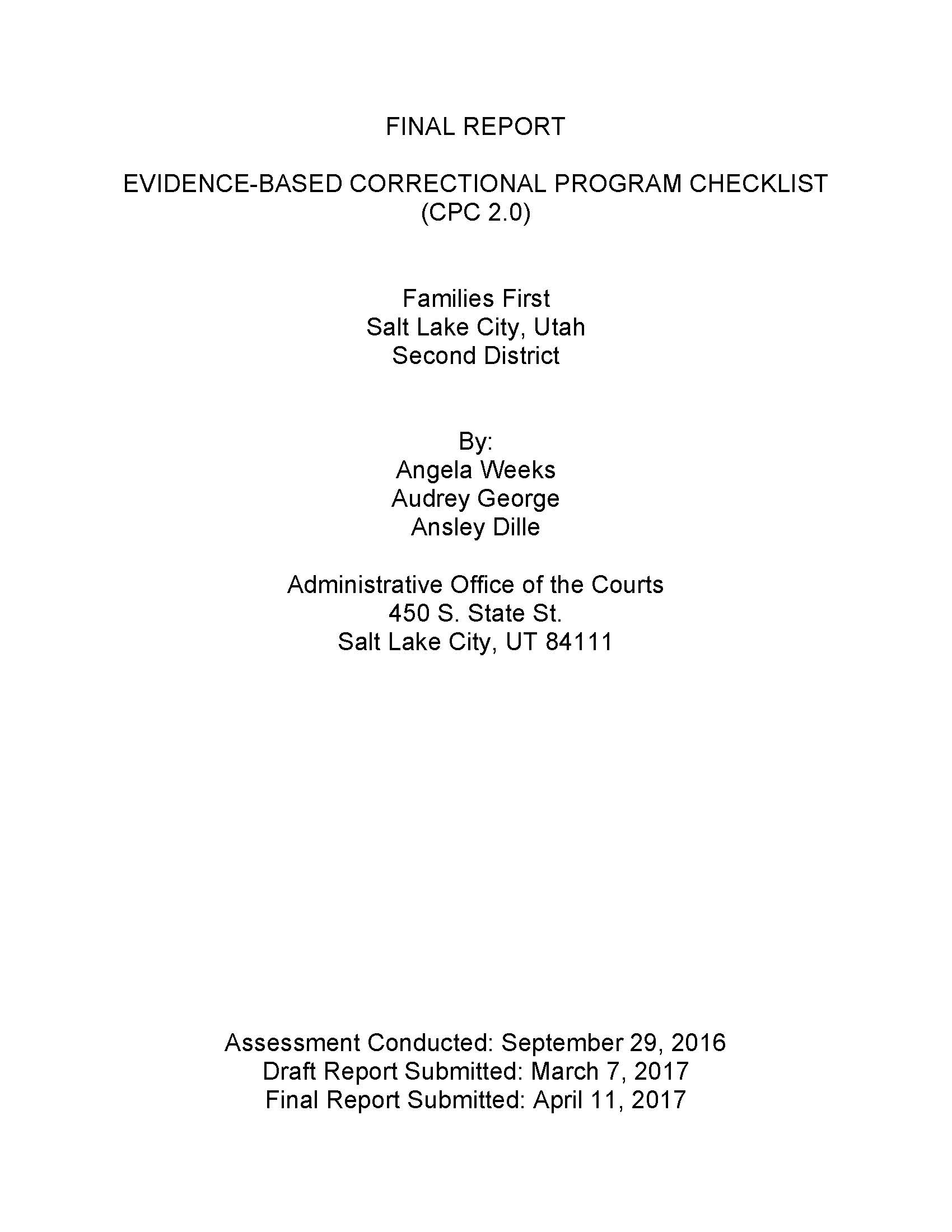 Evidence-based Correctional Program Checklist