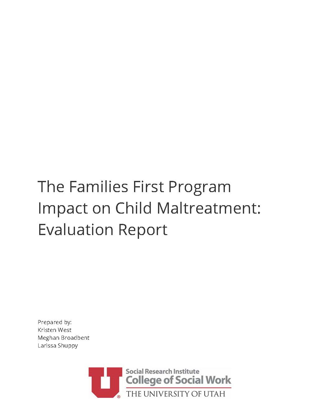 Families First Program Impact on Child Maltreatment Evaluation Report cover image